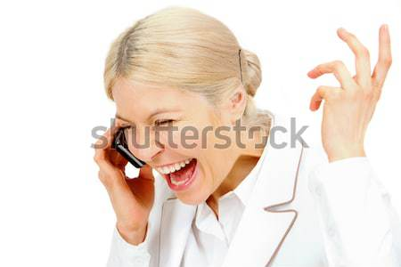 Foto stock: Mulher · telefone · móvel · retrato · falante · telefone