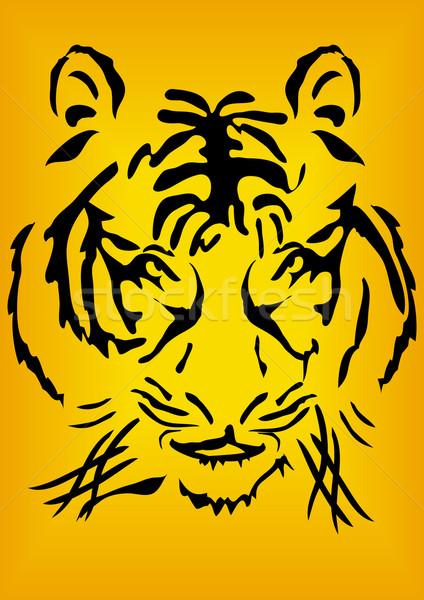 Kaganiec bengalski Tygrys głowie pomarańczowy streszczenie Zdjęcia stock © pressmaster