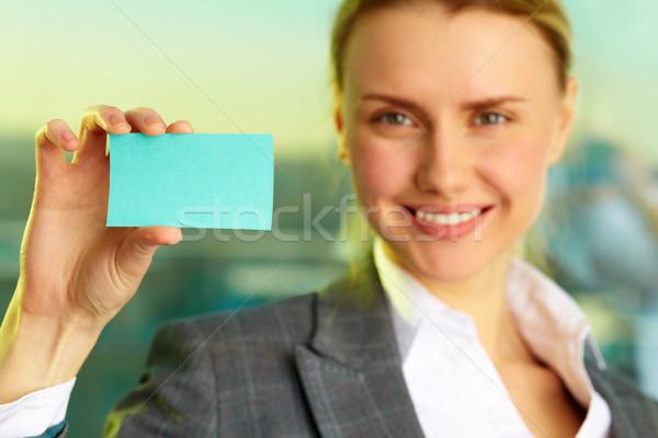 Woman with blank card Stock photo © pressmaster