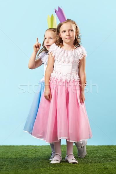 Aranyos promenád portré kettő okos lányok Stock fotó © pressmaster