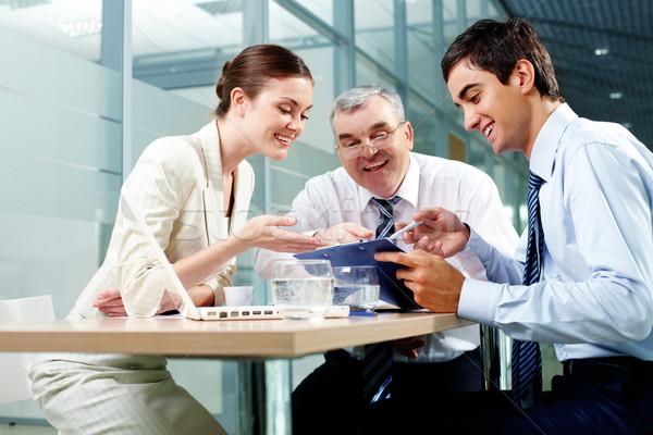 разделение три Бизнес-партнеры сидят служба Сток-фото © pressmaster