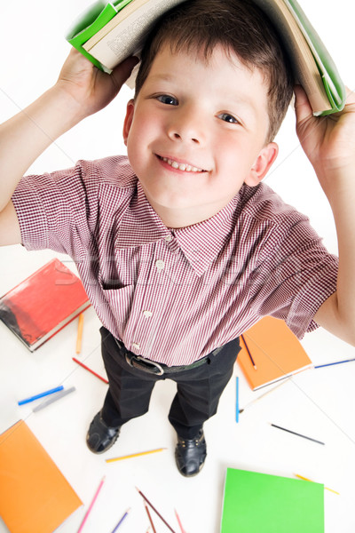 Huiswerk fisheye shot ijverig jongen boek Stockfoto © pressmaster