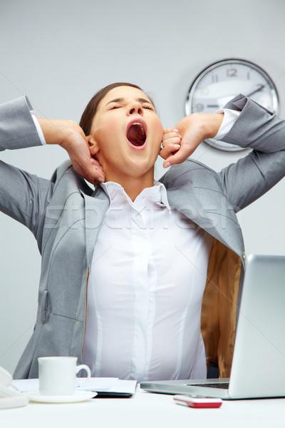 Grande bocejar cansado escritório gerente Foto stock © pressmaster