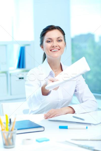 適用 仕事 肖像 小さな 笑みを浮かべて 女性 ストックフォト © pressmaster