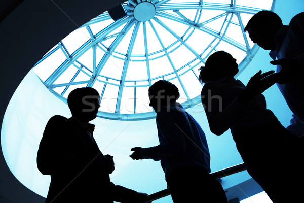 Interaction silhouette gens d'affaires affaires homme affaires Photo stock © pressmaster