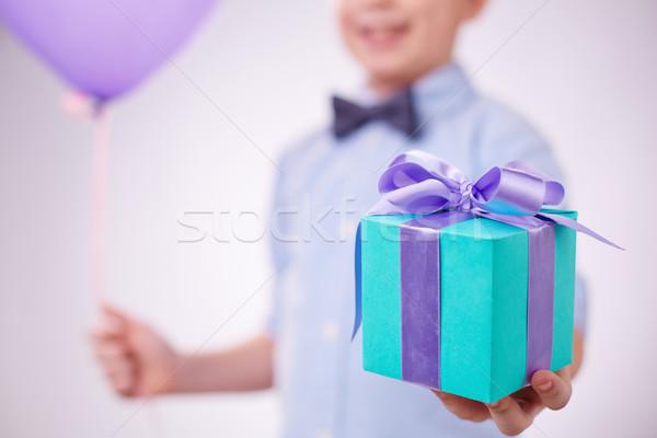 настоящее синий пакет сирень лента детей Сток-фото © pressmaster