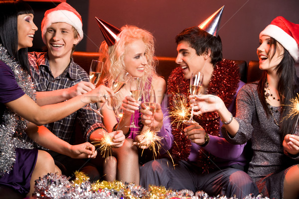 Stock fotó: Szórakozás · derűs · barátok · élvezi · új · év · buli
