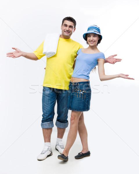 Foto stock: Pronto · retrato · feliz · casal · verão