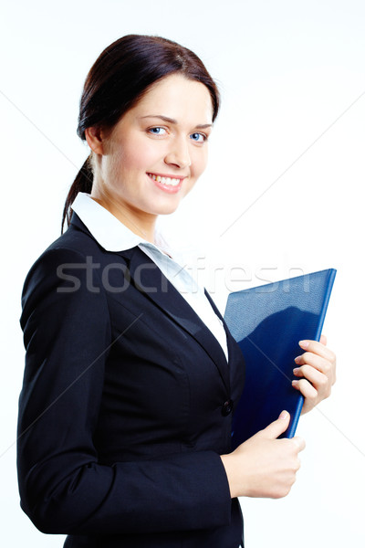 Foto stock: Exitoso · estudiante · retrato · elegante · mujer · de · negocios · libro