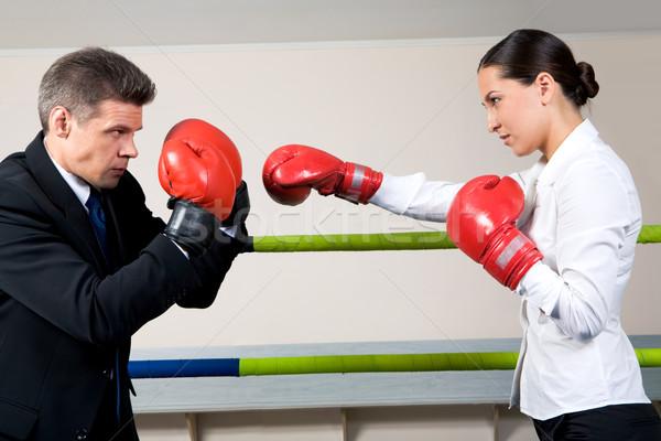 Saldırı portre agresif işadamı boks eldivenleri ciddi Stok fotoğraf © pressmaster