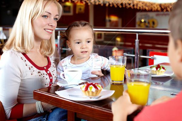 Stockfoto: Mooie · tijd · portret · gelukkig · gezin · lunch · cafe