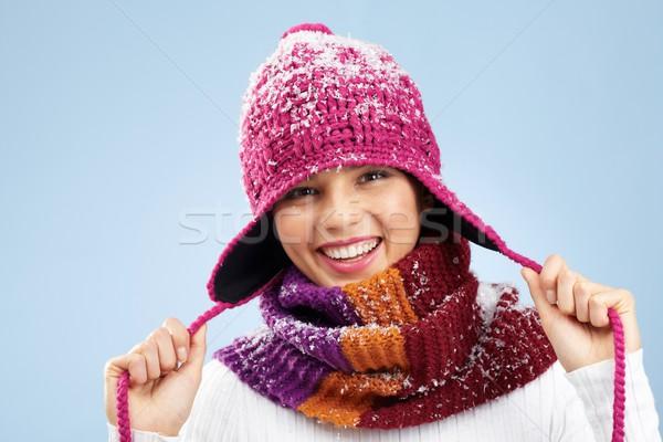 Elegante menina foto mulher bonita tricotado inverno Foto stock © pressmaster