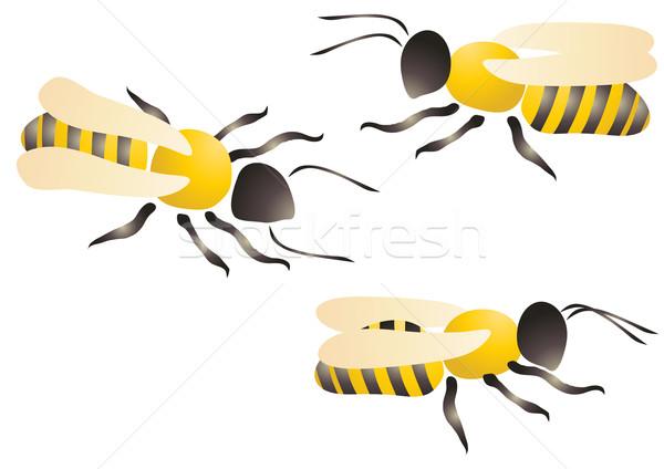 Trzy pszczół charakter projektu zwierząt kolor Zdjęcia stock © pressmaster