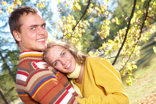 нежность фото счастливая девушка красивый мужчины расслабляющая Сток-фото © pressmaster
