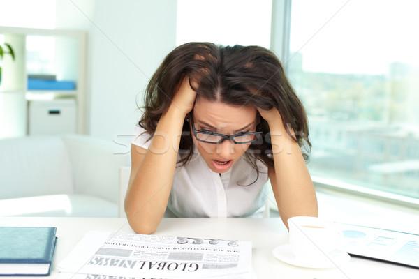 Megrémült női portré üzlet hölgy néz Stock fotó © pressmaster