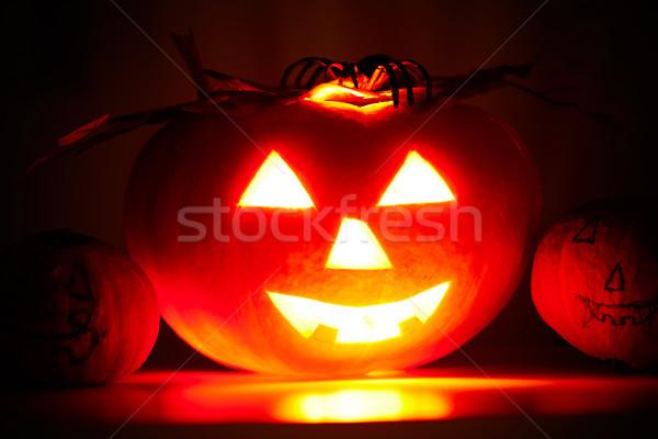 Terrível abóbora foto arreganhar preto escuro Foto stock © pressmaster