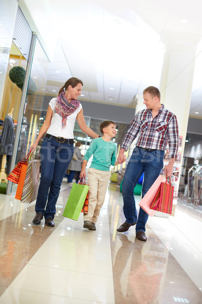 Christmas zakupy portret rodziny spaceru centrum Zdjęcia stock © pressmaster