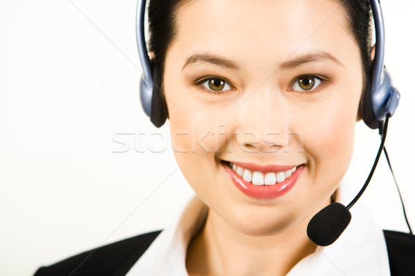 Stock fotó: Tanácsadó · portré · mosolyog · headset · izolált · fehér