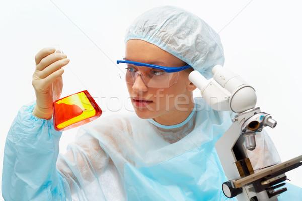 Orvosi kutatás portré orvostanhallgató néz flaska Stock fotó © pressmaster