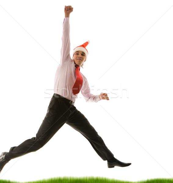 幸せ サンタクロース 肖像 興奮した ビジネスマン 着用 ストックフォト © pressmaster