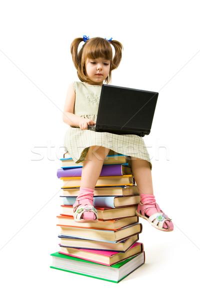 Foto stock: Proceso · estudiar · retrato · cute · colegiala · aprendizaje
