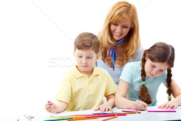 Photo stock: étudier · portrait · enfants · dessin · photos · enseignants