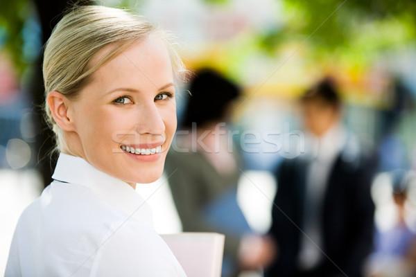 Photo stock: Joli · femme · d'affaires · image · Homme · regarder · caméra