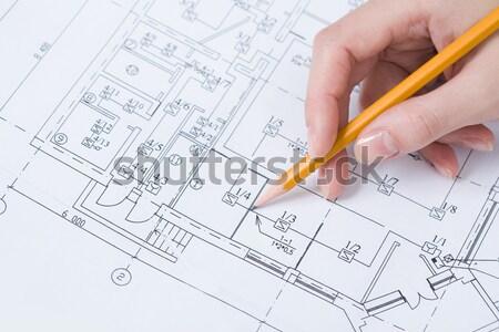 Сток-фото: эскиз · изображение · человеческая · рука · карандашом · дома