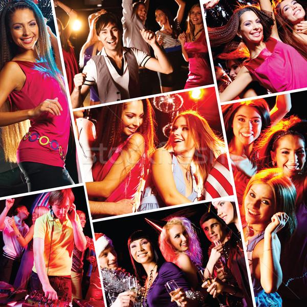 Clubbing collage aantrekkelijk jongeren dansen disco Stockfoto © pressmaster