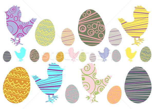 Foto d'archivio: Easter · eggs · pollo · design · uovo · arte · uccello