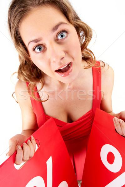 Vrouw winkelen portret verwonderd klant Stockfoto © pressmaster