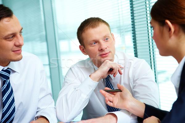 Stockfoto: Vergadering · kantoor · afbeelding · collega's · communiceren · business