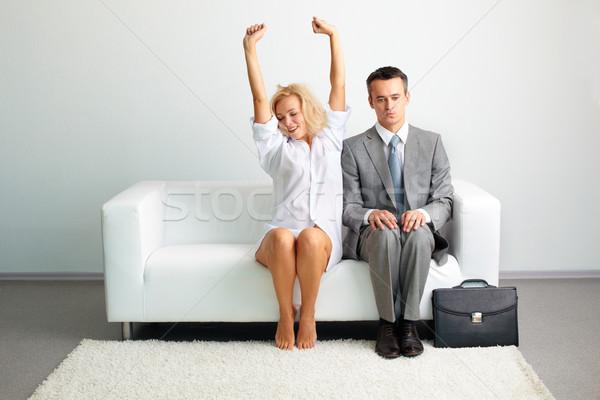 Reggel érzéki fiatal hölgy férfi póló Stock fotó © pressmaster