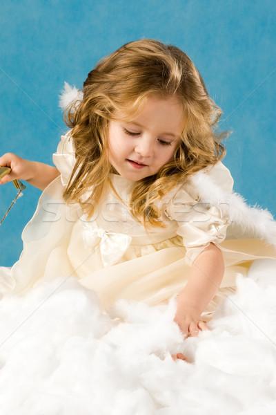 Csinos lány fotó angyali jelmez kék Stock fotó © pressmaster