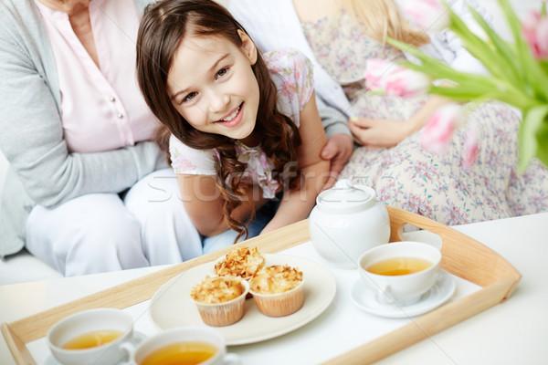 Tatlı çocuk tepsi sevimli küçük kız Stok fotoğraf © pressmaster