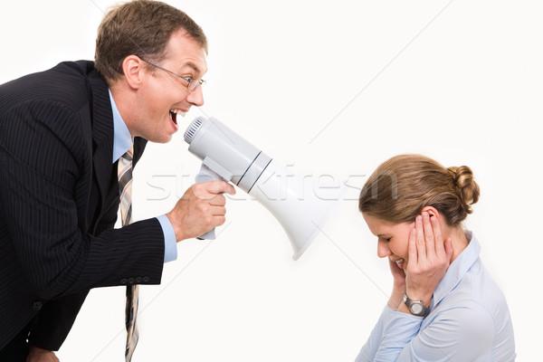 Сток-фото: изображение · сердиться · Boss · кричали · мегафон