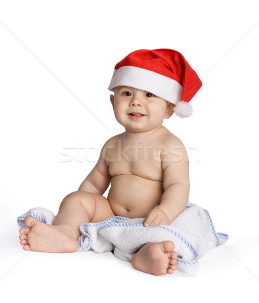 Zdjęcia stock: Baby · Święty · mikołaj · cap · obraz · odizolowany · słodkie