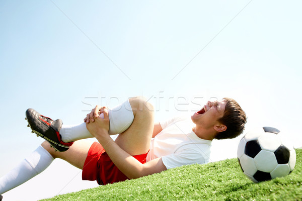 Photo stock: Douleur · jambe · image · footballeur · couché