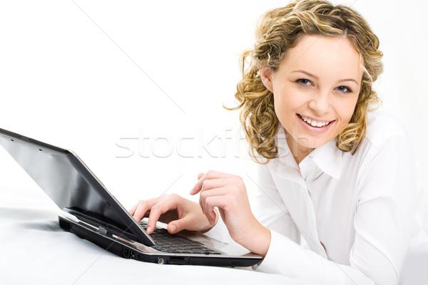 étudiant travaux image joli fille regarder Photo stock © pressmaster