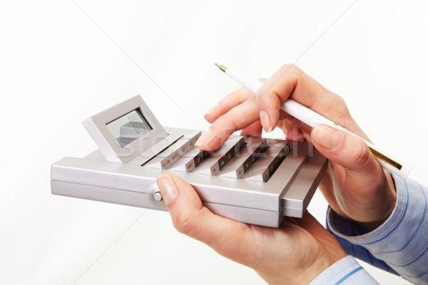 Rekening werk foto vrouwelijke hand pen Stockfoto © pressmaster