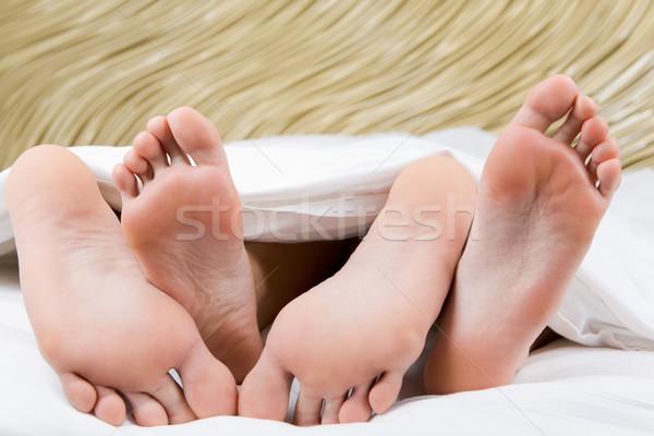 Stockfoto: Voeten · knuffel · afbeelding · twee · mannelijke