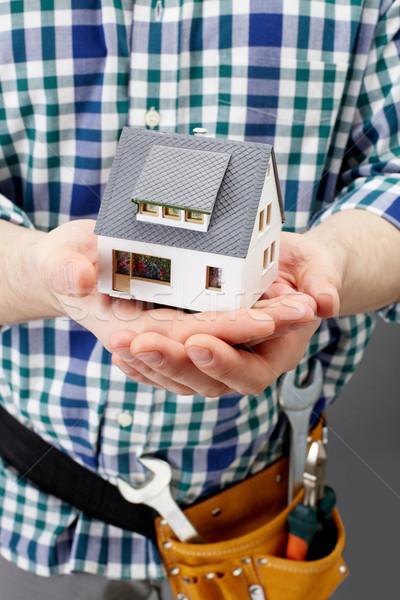 Foto stock: Casa · palms · arquiteto · mãos