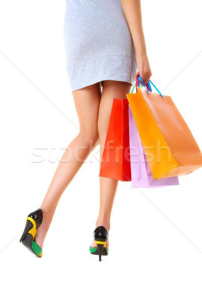 Hölgy ajándékok hátsó nézet elegáns női hordoz Stock fotó © pressmaster