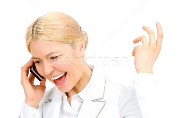 ストックフォト: 女性 · 呼び出し · 肖像 · 話し · 電話