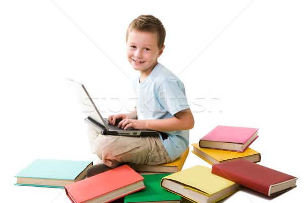 Сток-фото: счастливым · школьник · Smart · мальчика · набрав · ноутбука