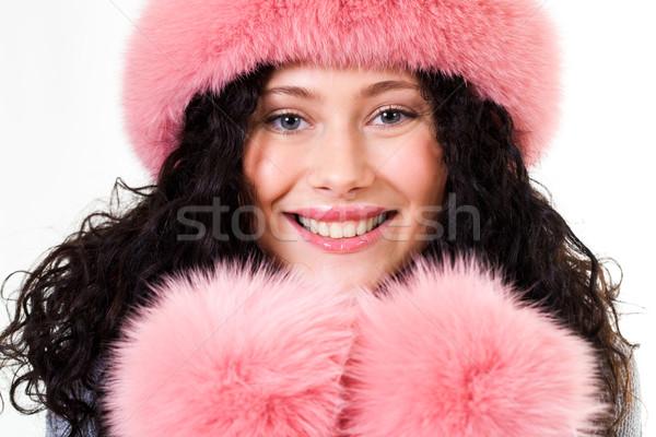 Twarz wesoły kobieta różowy zimą Zdjęcia stock © pressmaster