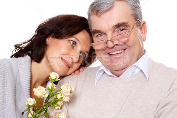 Gyengédség portré boldog érett férfi néz kamera Stock fotó © pressmaster