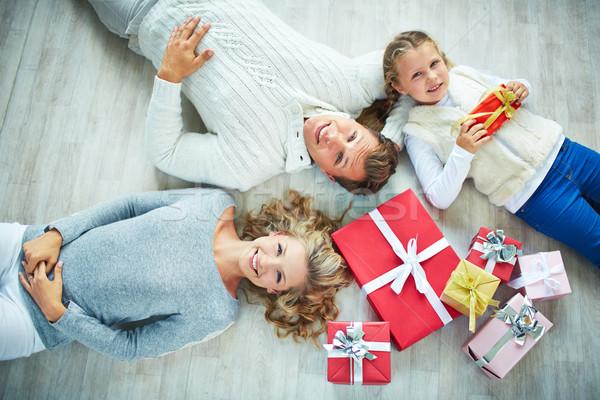 Family with giftboxes Stock photo © pressmaster