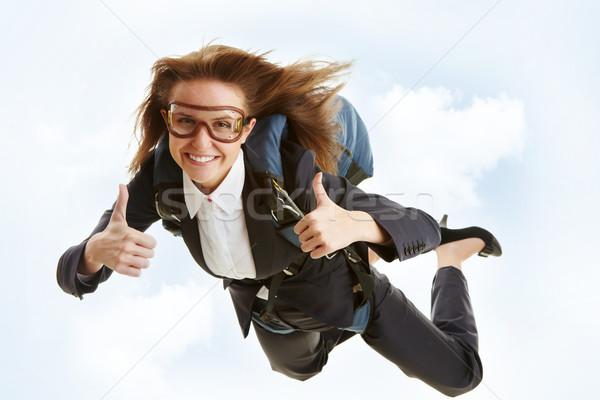飛行 画像 小さな 女性 飛行 ストックフォト © pressmaster