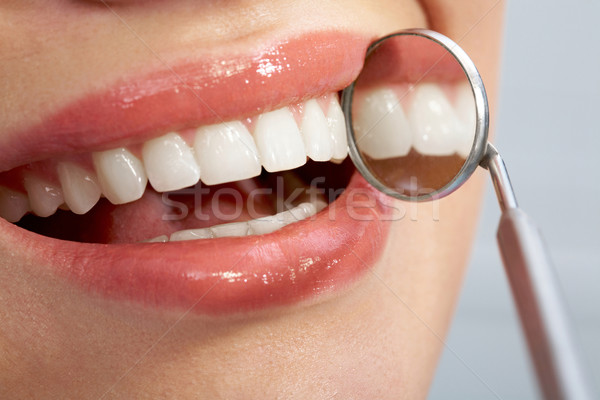 Foto stock: Bom · dentes · paciente · boca · dentista